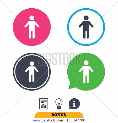 Human male sign icon. Man Person symbol. Male toilet. Report document, information sign and light bulb icons. Vector