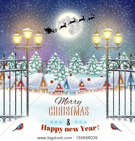 happy New year and merry Christmas winter village night landscape background. background with silhouette of Santa Claus flying on a sleigh. Christmas greeting type design with vintage street lantern
