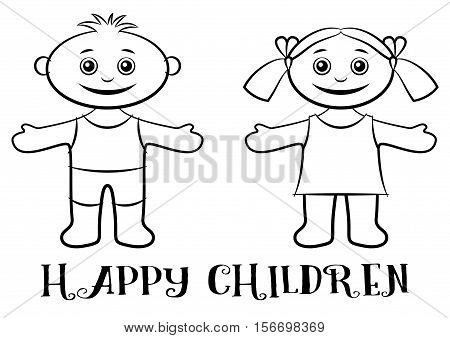 Cartoon People, Set of Happy Children, Funny Little Boy and Girl, Standing with Arms Wide Open and Smiling, Black Contour Isolated on White Background. Vector