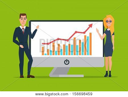 Business women and men present graphs on the in computer laptop display. Business cartoon concept. Vector creative color illustrations flat design in flat modern style.
