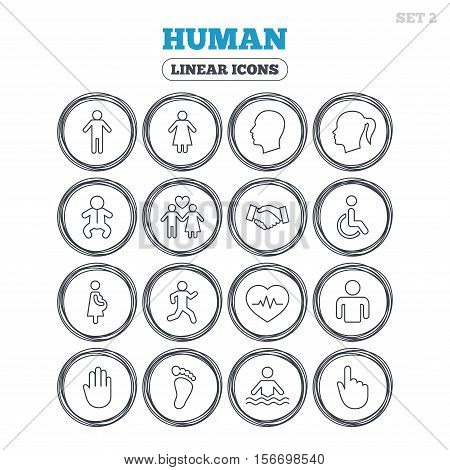 Human icons. Male and female symbols. Infant toddler and pregnant woman. Wheelchair for disabled. Success deal handshake. Circle flat buttons with linear icons. Vector
