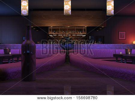 3D rendering of a luxury night lounge bar in a purple light