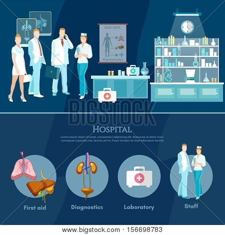 Medicine infographics hospital medicine staff health service human organs operating transplantation vector illustration