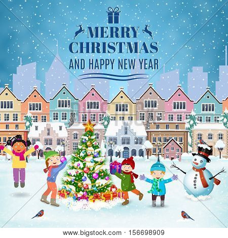 happy new year and merry Christmas winter old town street with christmas tree. concept for greeting and postal card, invitation, template, kids decorating a Christmas tree