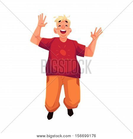Young, happy fat man in casual clothing jumping happily, cartoon vector illustration isolated on white background. Overweight, fat man enjoying life and having fun