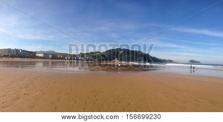 Zarautz beach Panoramic view of the beautiful beach of Zarautz in Basque Country, Spain