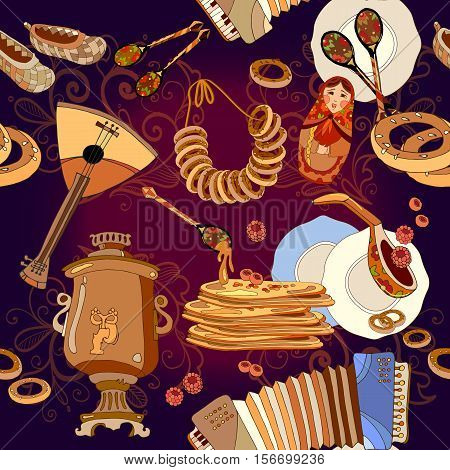 Russian cuisine seamless pattern pancakes samovar balalaika. Russian culture and traditions