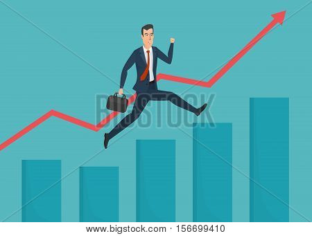 Businessman running grow up graph. Business cartoon concept. Vector creative color illustrations flat design in flat modern style.