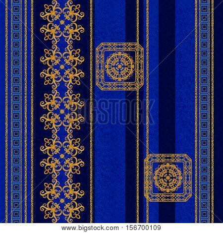 Pattern seamless. Golden crystals weaving arabesques. Gold arabesque oriental style abstract figure tiles mosaics. Sparkling decorative square frame fresco wall paintings.