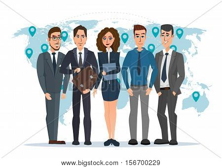 Leader and a team. Group of men and women politicians. leadership or global business concept. transnational corporate structure. Vector illustration isolated on white background in flat style.