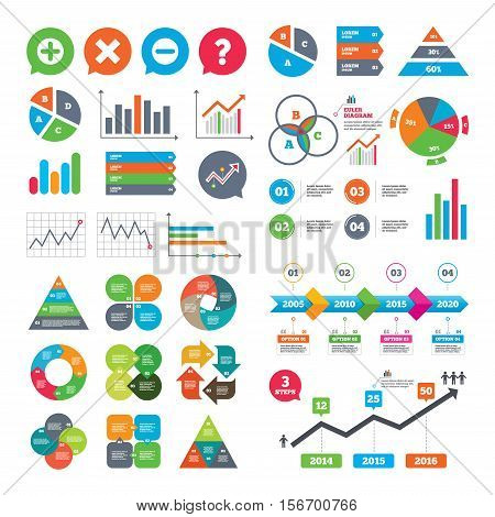 Business charts. Growth graph. Plus and minus icons. Delete and question FAQ mark signs. Enlarge zoom symbol. Market report presentation. Vector