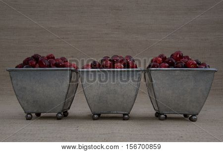 Fresh red and maroon cranberries heaped in three tin footed containers. Photographed close up at eye level against an ecru woven cloth background with shallow depth of field and fill flash.