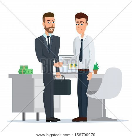 Teamwork solution and handshake of two businessman. Concept of successful partnership, business people cooperation agreement. Vector illustration isolated on white background in flat style.