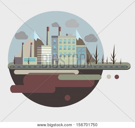 Industrial building factory and city on flying island. Vector color flat illustrations.