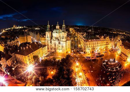Overview of Old Town Square and the Church of Our Lady before Tyn. Prague Czech Republic.