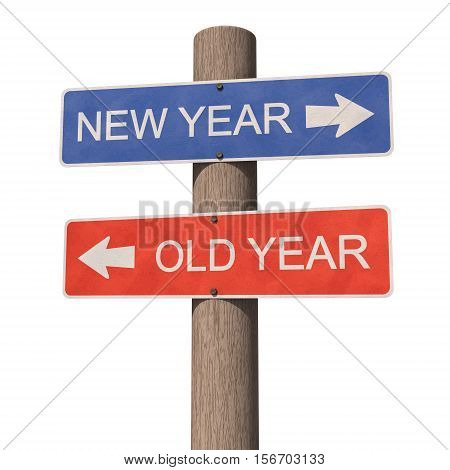 Wooden road signpost indicates direction to the New Year and the Old Year. 3d illustration