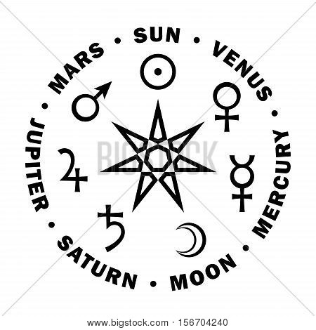 The Septener. The Ancient Star of Babylonian magicians. Seven classical planets of Astrology.
