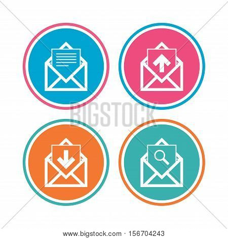 Mail envelope icons. Find message document symbol. Post office letter signs. Inbox and outbox message icons. Colored circle buttons. Vector