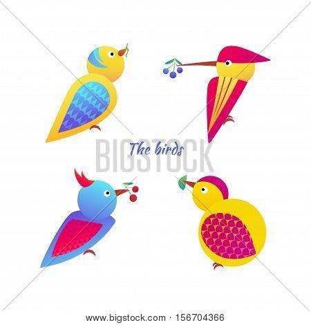 Vector illustration of stylized birds on white background. Set birds icon.