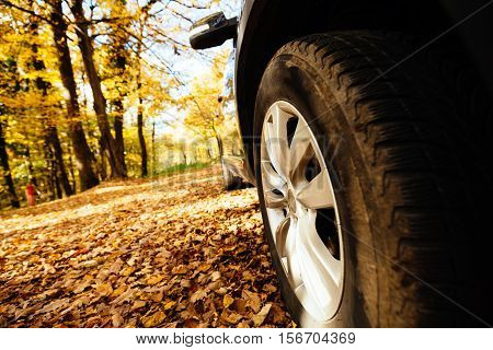 Tyres fitted on car for off road and slippery roads
