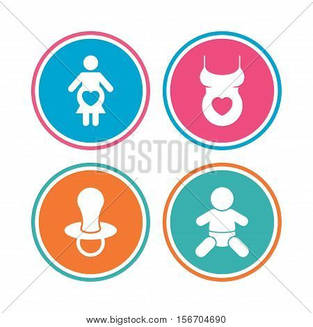 Maternity icons. Baby infant, pregnancy and dummy signs. Child pacifier symbols. Shirt with heart. Colored circle buttons. Vector