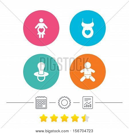 Maternity icons. Baby infant, pregnancy and dummy signs. Child pacifier symbols. Shirt with heart. Calendar, cogwheel and report linear icons. Star vote ranking. Vector