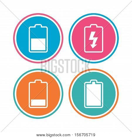 Battery charging icons. Electricity signs symbols. Charge levels: full, half and low. Colored circle buttons. Vector