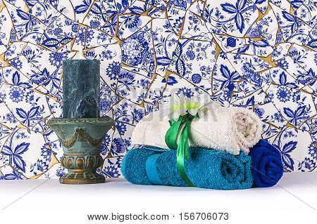 Blue towel set in a Turkish Hammam