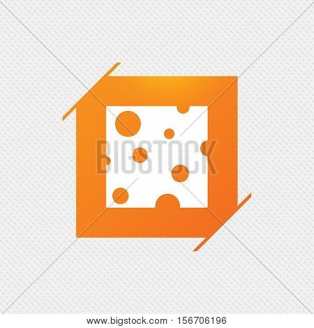 Cheese sign icon. Slice of cheese symbol. Square cheese with holes. Orange square label on pattern. Vector