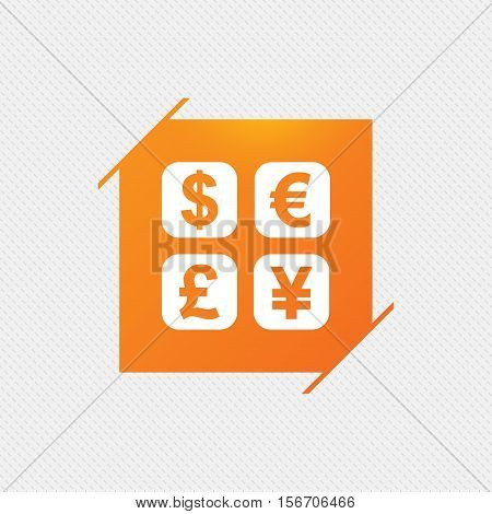Currency exchange sign icon. Currency converter symbol. Money label. Orange square label on pattern. Vector