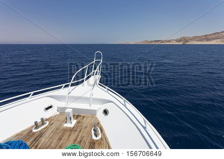 View from sailing yacht in the sea in summer.