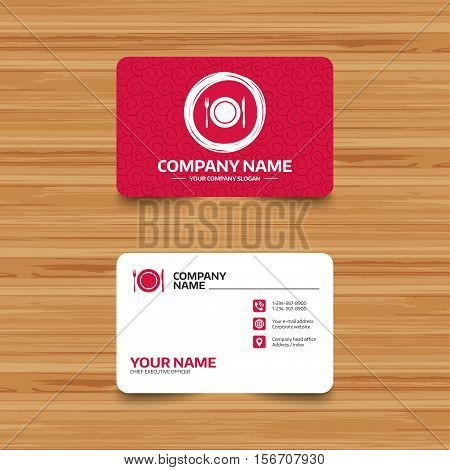 Business card template with texture. Plate dish with fork and knife. Eat sign icon. Cutlery etiquette rules symbol. Phone, web and location icons. Visiting card  Vector