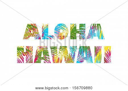 T-shirt print with colorful palm leaves lettering aloha Hawaii