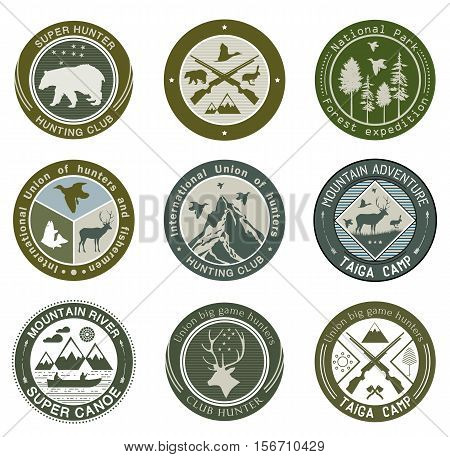 Hunting club, fishing and illustrations logo. National Park and open camp logo, illustration. Hunting, camping and outdoor activity  labels badges and design elements