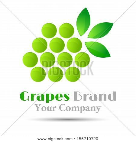 Grapes logo winemaking mark, bunch grapes green leaf design element wine emblem
