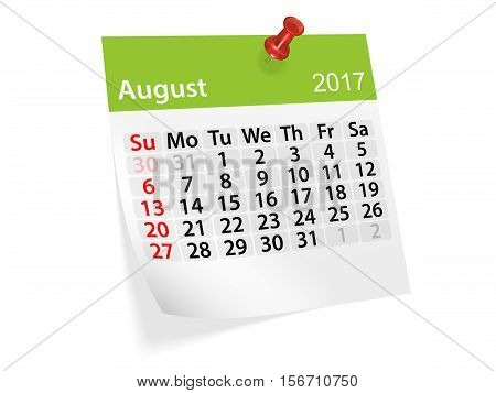 Monthly pinned note calendar for August 2017. 3d illustration