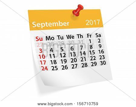 Monthly pinned note calendar for September 2017. 3d illustration