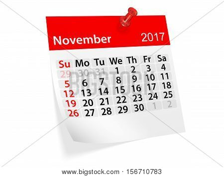 Monthly pinned note calendar for November 2017. 3d illustration