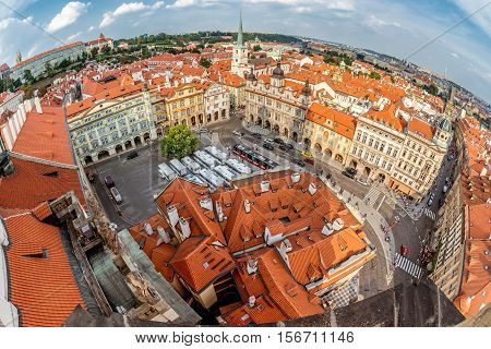 View of Lesser Quarter Square (Mala Strana) from Church of Saint Nicolas. Prague Czech Republic.