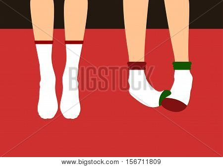 Legs in socks Vector illustration Two pairs of slim female legs in white socks on red background