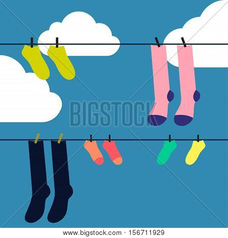 Socks drying Vector illustration Socks drying on the clothesline against blue sky with clouds Flat design