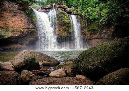 Heo Suwat waterfall in Khao Yai National Park Thailand