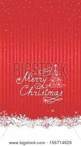 Christmas snowfall background with handwritten greeting lettering MERRY CHRISTMAS . Happy Winter Holiday Snow Decor Elements. Greeting card design with Christmas tree and snowflakes.