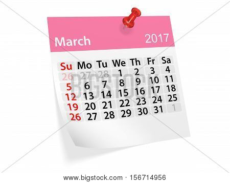 Monthly pinned note calendar for March 2017. 3d illustration