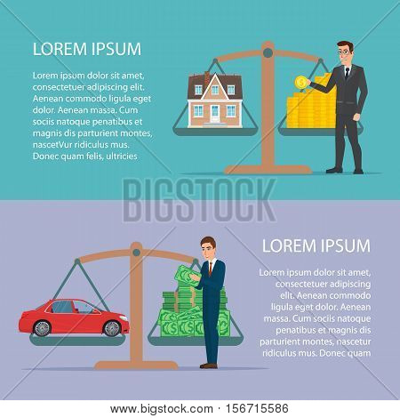 Save money for car and home asset property by businessman Flat design for business financial marketing concept cartoon illustration. Template for your text. Business characters set.