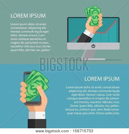 Wallet app page on smartphone screen and computer screen. Hand hold money. Template for your text. Business characters set. Banners for your web design in business style.