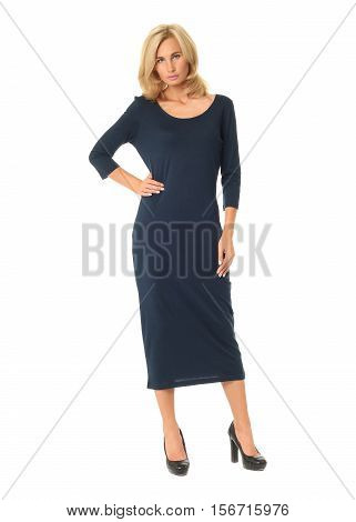 Portrait Of Flirtatious Woman In Blue Maxi Dress Isolated On White