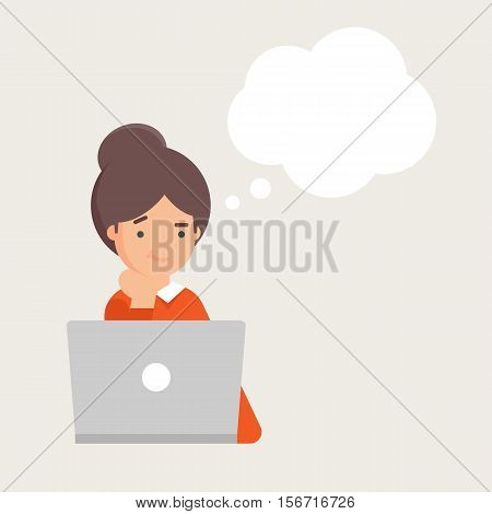 Vector illustration of woman working on the computer and thinking with empty thought bubble