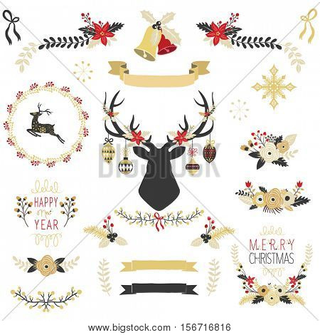 Gold Christmas Elements