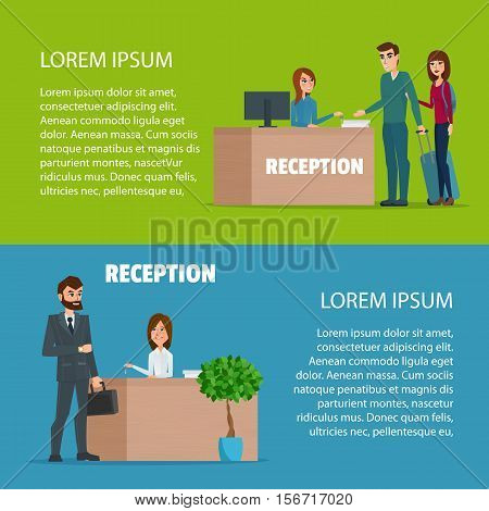 Customer at reception. Reception service hotel desk. Cartoon poster vector illustration. Banners for your web design in business style. Template for your text. Business characters set.